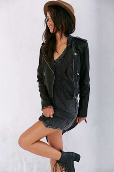 Members Only High/Low Leather Moto Jacket