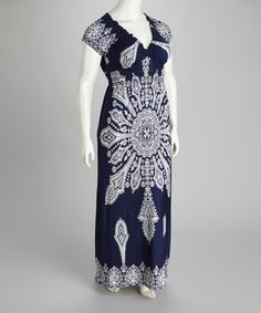 Take a look at this Navy Plus-Size Maxi Dress on zulily today!
