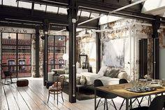 How to achieve the New York loft style in your home New york style loft Loft Estilo Industrial, Industrial Apartment, Industrial Interiors, Apartment Interior, Modern Loft Apartment, Exposed Brick Apartment, Small Loft Apartments, Loft Apartment Decorating, Loft Interiors