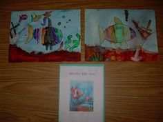 Under the sea art in my Kindergarten class. Bio color paint, watercolor wash and table salt on the wet paint.