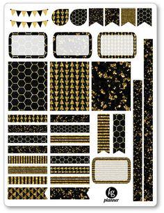 Gold Glitz Decorating Kit / Weekly Spread Planner Stickers for Erin Condren Planner, Filofax, Plum Paper