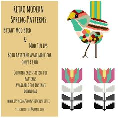 Retro Spring - Tulips & Bird - Modern Cross Stitch Patterns - PDF - Instant Download on Etsy, $3.00