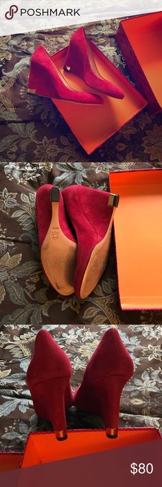 Tory Burch Suede wedges Mint condition, worn once Tory Burch Shoes Wedges