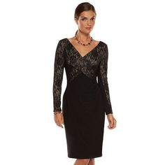 Women's CHAPS Ralph Lauren Black Cross Over Lace Long Sleeve V-neck Dress XL 16 #Chaps #LaceOverlyCrossOver #Formal