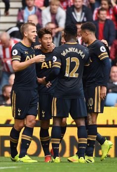 Players celebrate after Son puts Spurs up away to Stoke. Match ended d39debe11