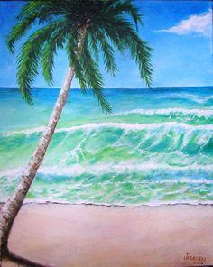 Tropical Beach  Original Acrylic Painting by gitane54 on Etsy, $75.00