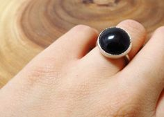 Round Black Onyx Sterling Silver Ring by CSfootprints on Etsy, $35.00