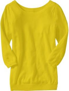 Women's Button-Back 3/4-Sleeve Pullovers in dayglow dina - Old Navy