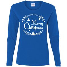 Merry Christmas and Happy New Year1-01 G540L Gildan Ladies' Cotton LS T-Shirt