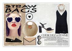 """#strawbags"" by paxeb ❤ liked on Polyvore featuring Surya, Jacquemus, Ashley Stewart, Soludos, Miu Miu, Alberta Ferretti, Gucci, La Femme and strawbags"