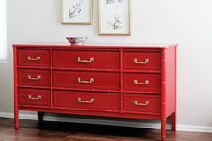 She says the perfect red paint and how 2 do it Pins I've Tried: Faux Bamboo Buffet