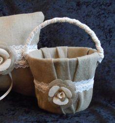 burlap ring bearer pillow and burlap flower girl basket pail