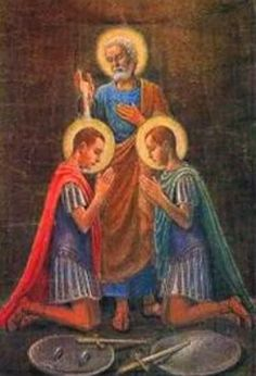 """May 12th - Sts. Nereus & Achilleus - Nereus and Achilleus were soldiers in the Roman army where they helped carry out the persecution of Christians. We are not told how they were converted, only that it was a """"miracle of faith."""" After this miracle, they threw down their weapons and escaped from their camp, discarding armor and arms as they went toward their new life in Christ."""