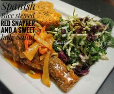 Sweet Kale Salad, Red Snapper, Spanish Rice, Stew, Food And Drink, Meat, Chicken, Beef, Cubs