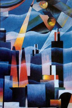 Tullio Crali – 'Airplanes on the metropolis' 1926 Cubist Art, Abstract Art, Bauhaus, Modern Art, Contemporary Art, Futurism Art, Cool Stuff For Sale, Mediums Of Art, Surrealism Painting