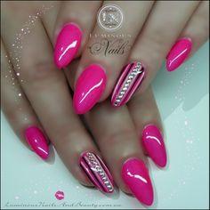 Luminous Nails: HOT Pink Nails with Stripes & Crystals. Hot Pink Nails, Love Nails, Fun Nails, Sassy Nails, Fabulous Nails, Gorgeous Nails, Pretty Nails, Short Nail Designs, Cute Nail Designs