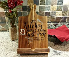 iPad Holder and Cookbook Stand Cutting board style My Kichen