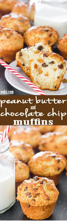 Peanut Butter and Chocolate Chip Muffins - these muffins are loaded with peanut butter chips and chocolate chips plus learn the secret to get the perfect muffin tops.