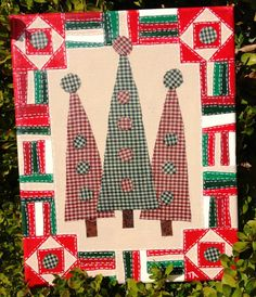 Quilt ArtThree Christmas Trees by AlveloQuiltArt on Etsy, $20.00