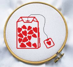 Counted cross stitch pattern, Instant Download, Free shipping, Cross-Stitch PDF, Love Teabag
