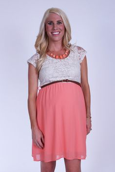 Sand and Coral Lace Belted Cap-Sleeve Maternity Dress from Heritwine Maternity