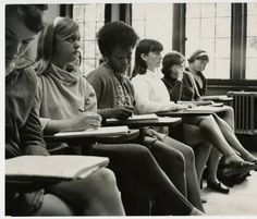 Six students in a classroom, including Sandy Simpson, third from left :: Archives & Special Collections Digital Images :: circa 1970-1979