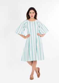 e98c11145c908 Always dress well but keep it simple. So Buy This blue striped khadi dress  with raglan sleeve is perfect for summer outings.