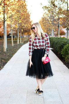 Tulle Skirt, plaid shirt & glitter Keds! Festive holiday outfit!