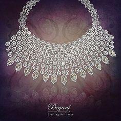 """Grace yourself with this pristine & intricately designed diamond necklace"" #luxurious #luxuryjewelry #beautiful #begani_jewels #expensivejewelry #diamonds #diamondnecklace"