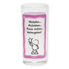 """Trinkglas """"Krone richten"""" von sheepworld. Bezaubernd in süßem Pink für echte Prinzessinnen. http://sheepworld.de/shop/nach-Serien-Motive/Krone/Trinkglas-KRONE.html"""
