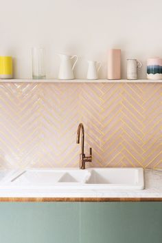 The Kids Helped Design This Super Cheerful London House Extension kitchen backsplash with pink tile with yellow grout; floating shelf above Objet Deco Design, Pink Tiles, Green Bathroom Tiles, Blush Bathroom, Yellow Tile, Bathroom Colors, Herringbone Tile, London House, Green Kitchen