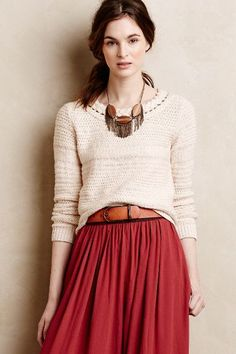 Sandstripe pullover, leather belt, full skirt in a m favorite shade of red, plus a great necklace!