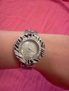 Women's Ashley Zebra Watch With Flexible Stainless Steel Cuff Band