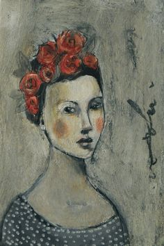Original Painting With Roses in her hair by MistyMawn on Etsy, $45.00