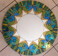 Miroir mosaïque vitrail rond