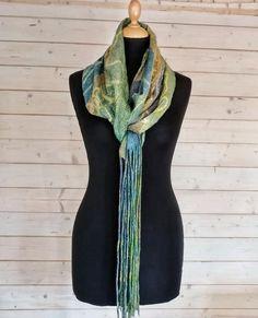 Lena Archbold creates lots of her nuno felt with Margilan silk. Margilan Silk is available to buy from her online shop. Nuno Felting, Long Scarf, Step By Step Instructions, Wearable Art, Herringbone, How To Introduce Yourself, Plaid Scarf, 3 D, Felted Scarf