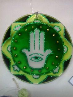Mandala Hamsa 12cm - vidro Disponível !