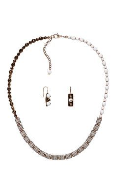 Jewelry Design - Single-Strand Necklace and Earring Set with Acrylic and Enamel Beads, Czech Fire-Polished Glass Beads and Copper Beads - Fire Mountain Gems and Beads