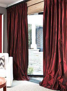 Solid Silk Taffeta Custom Drapes by DrapeStyle Drapery Custom Curtains, Drapes Curtains, Curtain Room, Curtain Call, Drapery, Silk Drapes, Silk Taffeta, Window Coverings, Window Treatments
