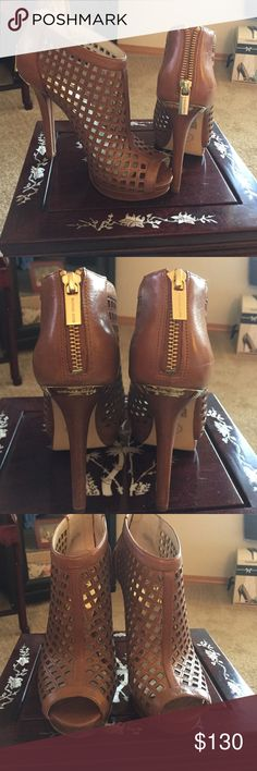 Michael Kors Booties New Michael Kors Booties 5 inch heels. Gold hardware. Never worn. Michael Kors Shoes Ankle Boots & Booties