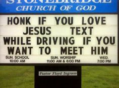 If you don't think religious people are funny, then you've never seen any funny church signs. Church signs are a great way for churches to speak to the community, and some churches have found that a f Christian Stories, Christian Humor, Christian Cartoons, Funny Christian Quotes, Christian Signs, Funny Church Signs, Funny Signs, Church Humor, Funny Church Quotes