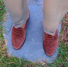 Covert cloth trousers by J. Press, David Eden ribbed OTC socks, Allen Edmonds Snuff Suede Juneau dress loafers. Cuff, no break!
