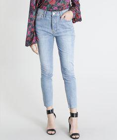 29f3835c0 Calça Jeans Feminina Mindset Skinny Cintura Alta Barra Desfiada Azul Claro