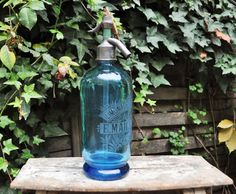 French antique blue glass Soda Siphon French by LaBourgognedeNath