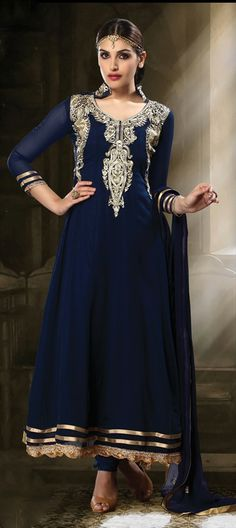411132: 'Dark Blue is the new Black'. Check this #Anarkali out with gold embroidery around neck area. #Partywear #ethnic
