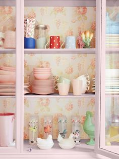 Wallpaper-Backed China Cabinet - DIY Wallpaper Projects to Dress Up Your Home on HGTV