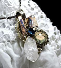 """Collier opales boulder et quartz """" Le temps de l envol """" : Collier par de-l-opale-aux-etoiles"""