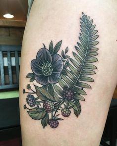 "712 Likes, 3 Comments - Wonderland Tattoo (@wonderlandpdx) on Instagram: ""Hellebore, blackberry and fern on thigh by Alice Kendall @alicestattoos"""