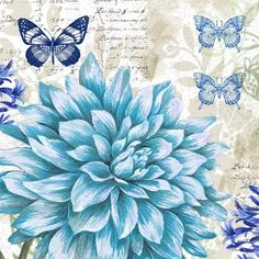 Flowers and blue butterflies - Blue 1 - Elena Vladykina Decoupage Vintage, Vintage Paper, Butterfly Art, Flower Art, Butterflies, Scrapbook Paper, Scrapbooking, Decoupage Printables, Foto Transfer