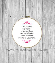 Funny Quote Cross Stitch Pattern PDF, Easy Cross Stitch Pattern Pink, Heart Stitch Pattern Funny, Offensive Cross Stitch Pattern Modern This PDF counted cross stitch pattern available for instant download. Floss: DMC Fabric: AIDA 14-count ( other AIDA Fabric Counts may be used, the finished pattern will be different in size) Number of Colors: 3 Full Cross stitches only Size: 148 x 188 stitches ( 10.57 x 13.43on 14 ct Aida) There is no background to be stitched. You can play around with…